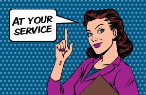 At your service pop art business card