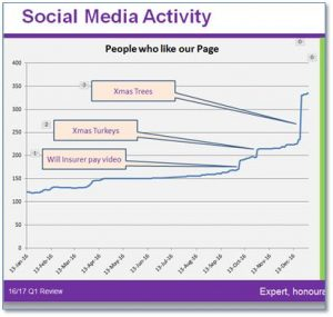 Social media engagement graph for Maxine Lester 2016