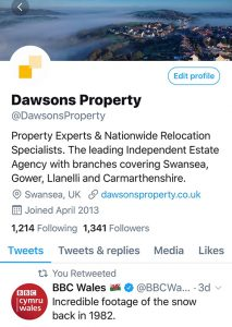 DAWSONS PROPERTY SWANSEA TWITTER ACCOUNT
