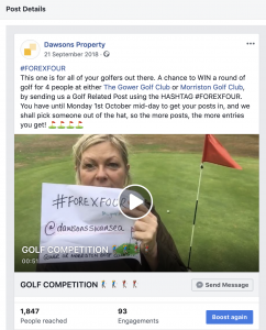 Four X Fore Dawsons social media golf competition run by JP Gardner & Associates