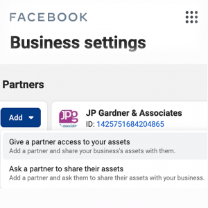 Add JP Gardner Associates as a partner on your Business Manager Account