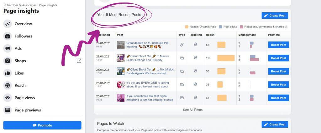 Your 5 most recent posts Facebook screenshot