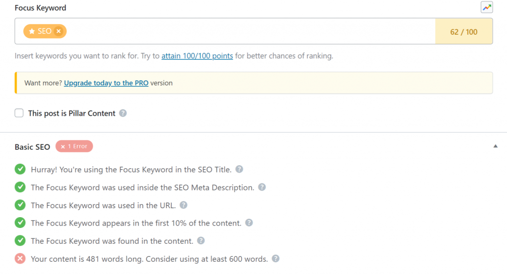 SEO Basic pointers now content added screenshot