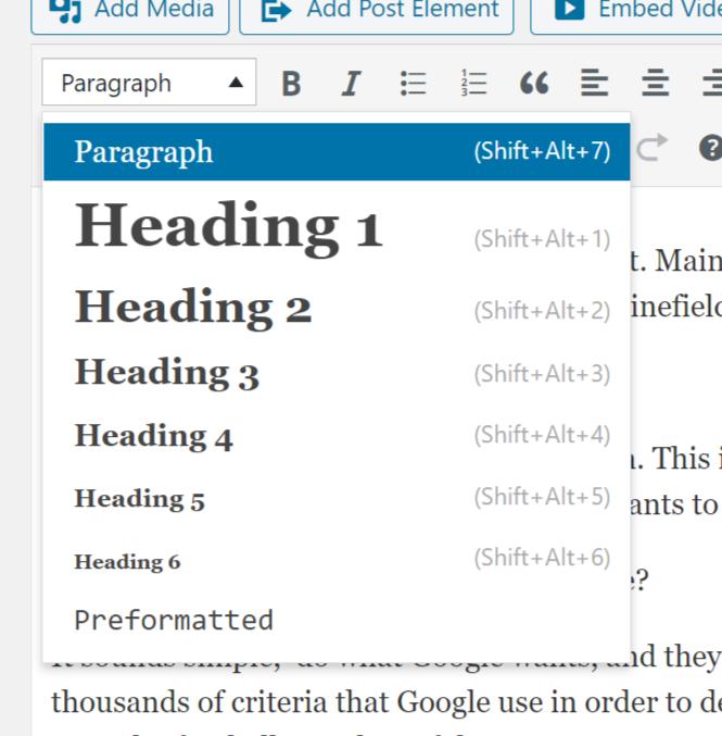 Wordpress headings drop down menu screenshot