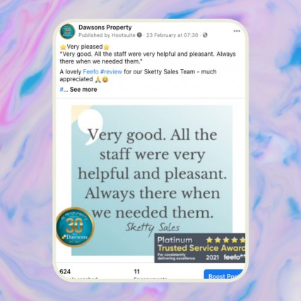 Shout out your great reviews on your FACEBOOK PAGE