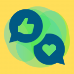 A thumbs up and heart symbol in blue speech bubbles on a bright yellow background
