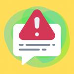 Warning symbol graphic on bright yellow background
