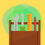 Wooden crate filled with tools graphic on bright yellow background