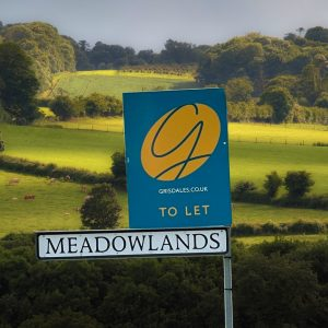 The new Grisdales To Let Board in Meadlowlands West Cumbria